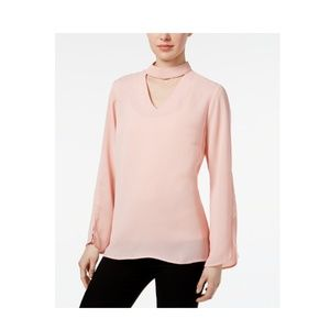 NY Collection Bell Sleeve Choker Blouse Pink
